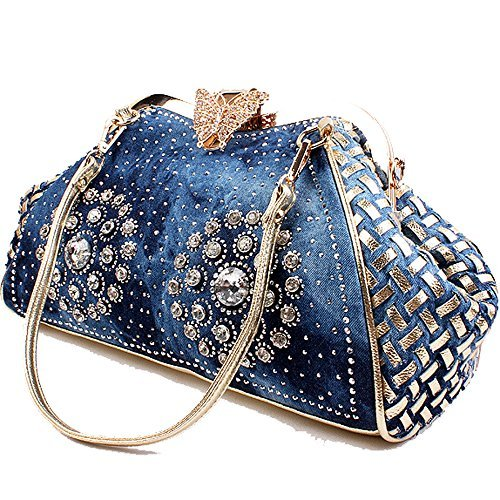 COOFIT Women's Denim Blue Knitted Top Handle Handbags with Shiny Rhinestone Jean Handbag Purse
