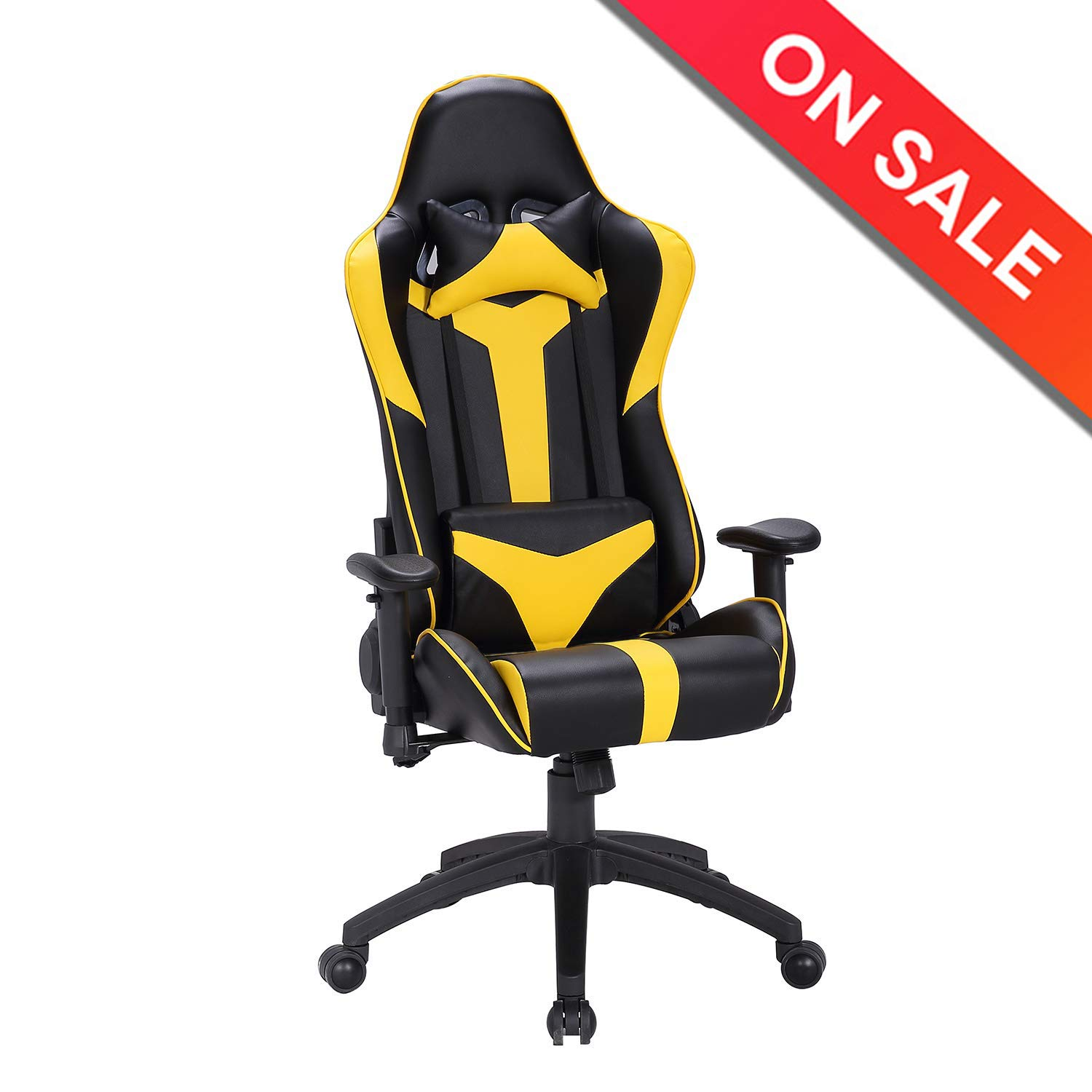 LCH Ergonomic gaming Chair, Racing Style High-back Large Size Computer Chair-PU Leather Adjustable Height Executive Office Chair with Detachable Cushion