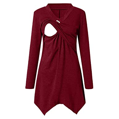 fc5455c368ee9 2019 Maternity Clothes, Women's Nursing Hoodie V Neck Long Sleeves Casual Top  Breastfeeding Clothes Blouse at Amazon Women's Clothing store: