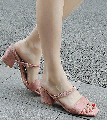 Chaussures Rose Bloc Basse Mules Plage Simple Talon Aisun De Femme fw76vxfqa