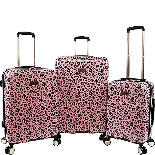 Juicy Couture Women's Jane 3-Piece Hardside Spinner Luggage Set, Pink Leopard
