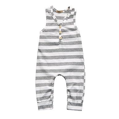 6492dcb38 Amazon.com  Newborn Baby Girl Boy Sleeveless Striped Romper Jumpsuit ...