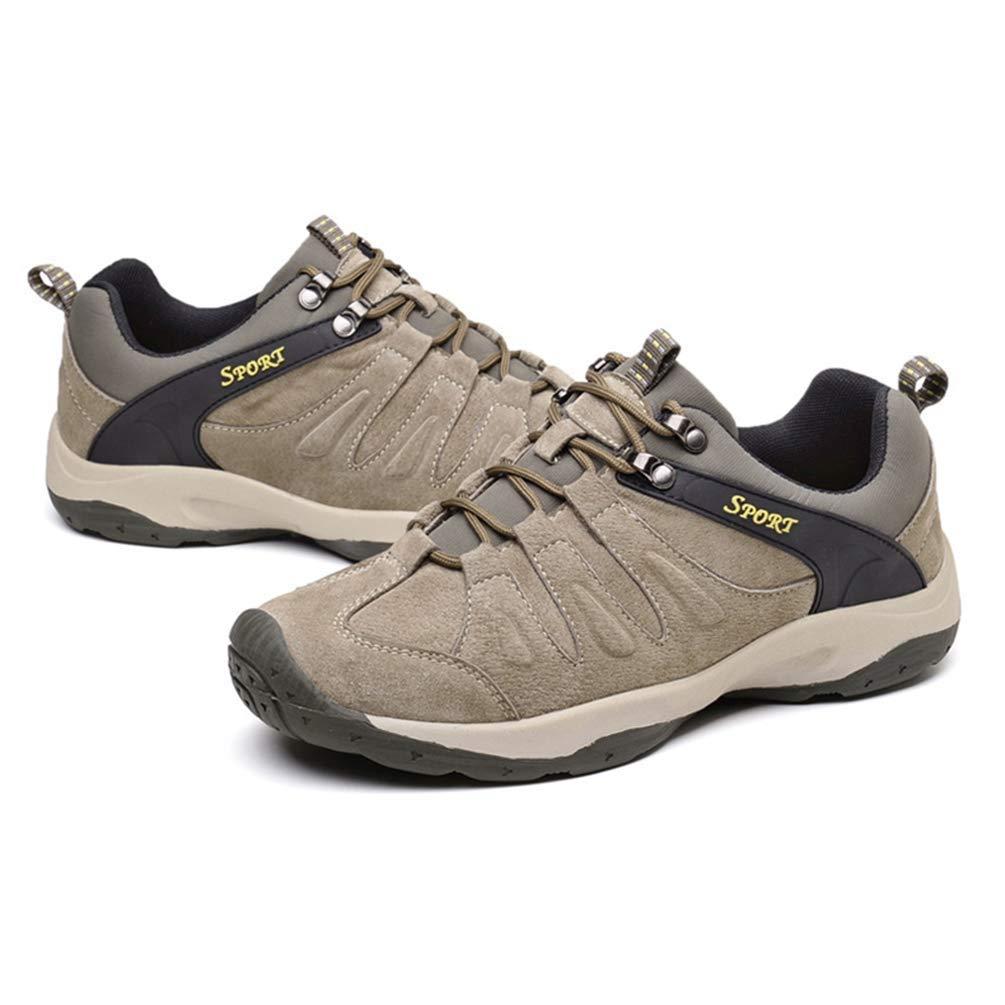 Männer Leder Casual Turnschuhe Turnschuhe Turnschuhe Frühling Herbst Männlich Walking Komfortable Rutschfeste Schuhe (Farbe   Khaki, Größe   4.5UK=38EU) e06ba8