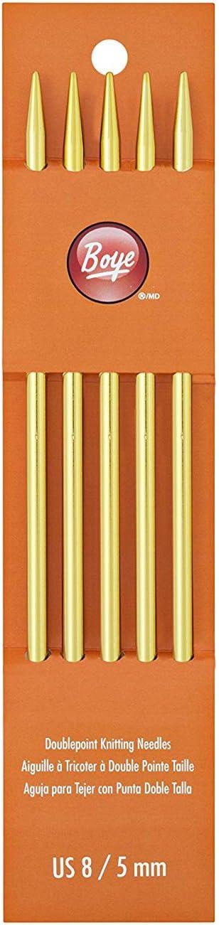 """Boye Double Point Aluminum Knitting Needles 7/""""-Size 8//5mm"""