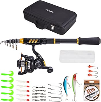 Lixada Fishing Rod and Reel Combo with Spinning Reel Fishing Line ...