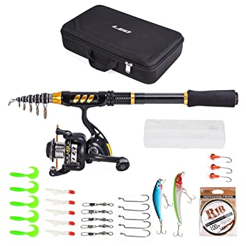 Lixada Teleskop Angelrute und Reel Combo Full Kit Carbon-Faser Angelrute Pole Tragetasche Spinning