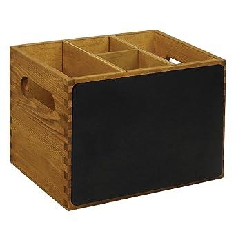 Olympia - Organizador con pizarra para mesa, 150 x 210 x 160 mm, madera, artículo para boda