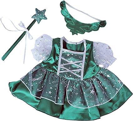 Amazon Com Green Fairy Princess W Wand Tiara Dress Fits Most 8 10 Webkinz Shining Star And 8 10 Make Your Own Stuffed Toys Games