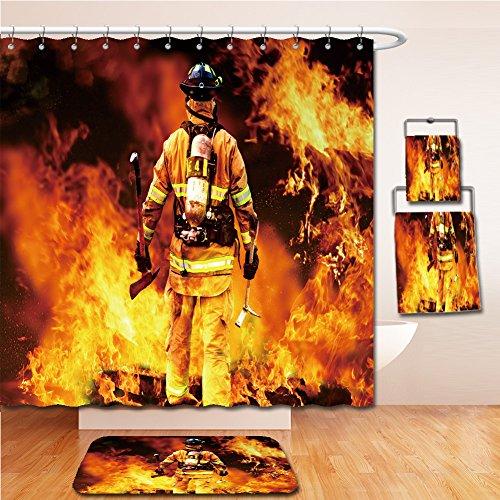 LiczHome Bath Suit: Showercurtain Bathrug Bathtowel Handtowel n to the fire, a Firefighter searches possible survivors