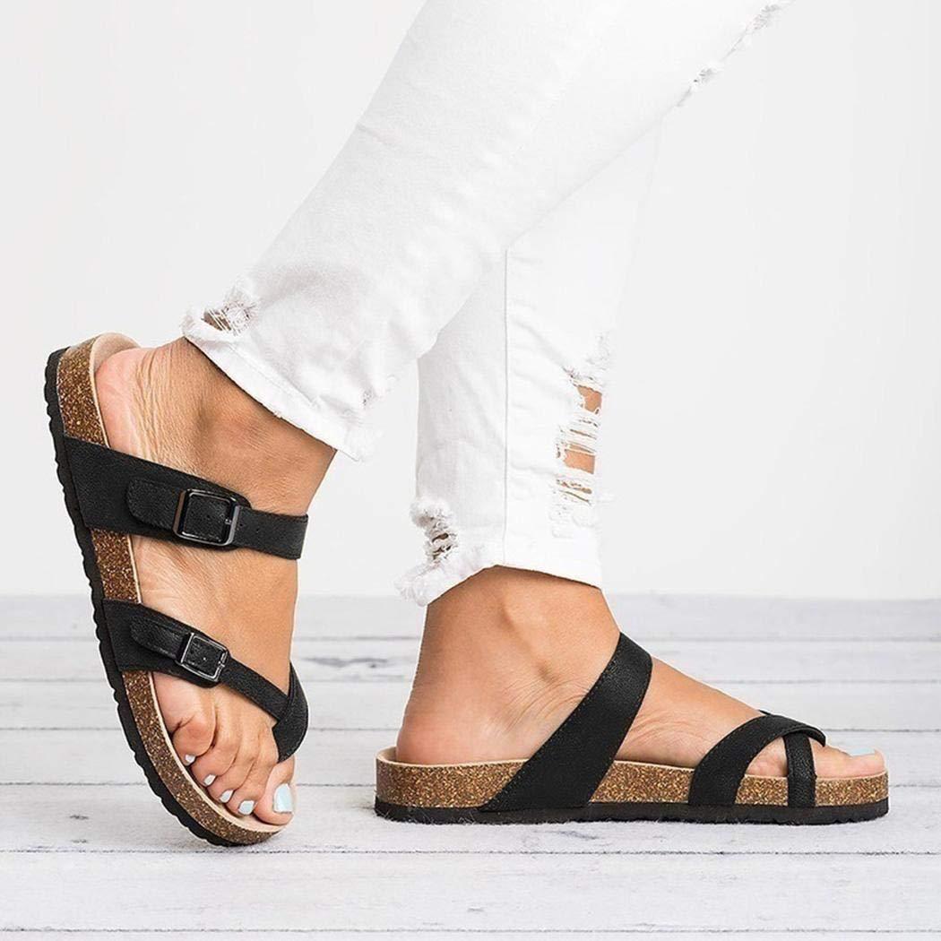 Casual Ankle Buckle Strap Flat Slides Yealsha Women/'s Gladiator Sandals Summer Beach Shoes Flip-Flops