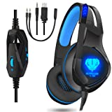 Amazon Price History for:Gaming Headset for PS4, XBOX One, Nintendo Switch, Noise Canceling Earphone, LED Light Stereo Over-Ear Wired Headphones with Mic, Earphone for Laptop, Mac, PC (Black/Blue)