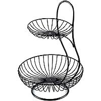 LuAn Decorative Fruit & Vegetables Storage Basket Stand, Kitchen, Countertop, Fruit Bowl - Black 2 Tier