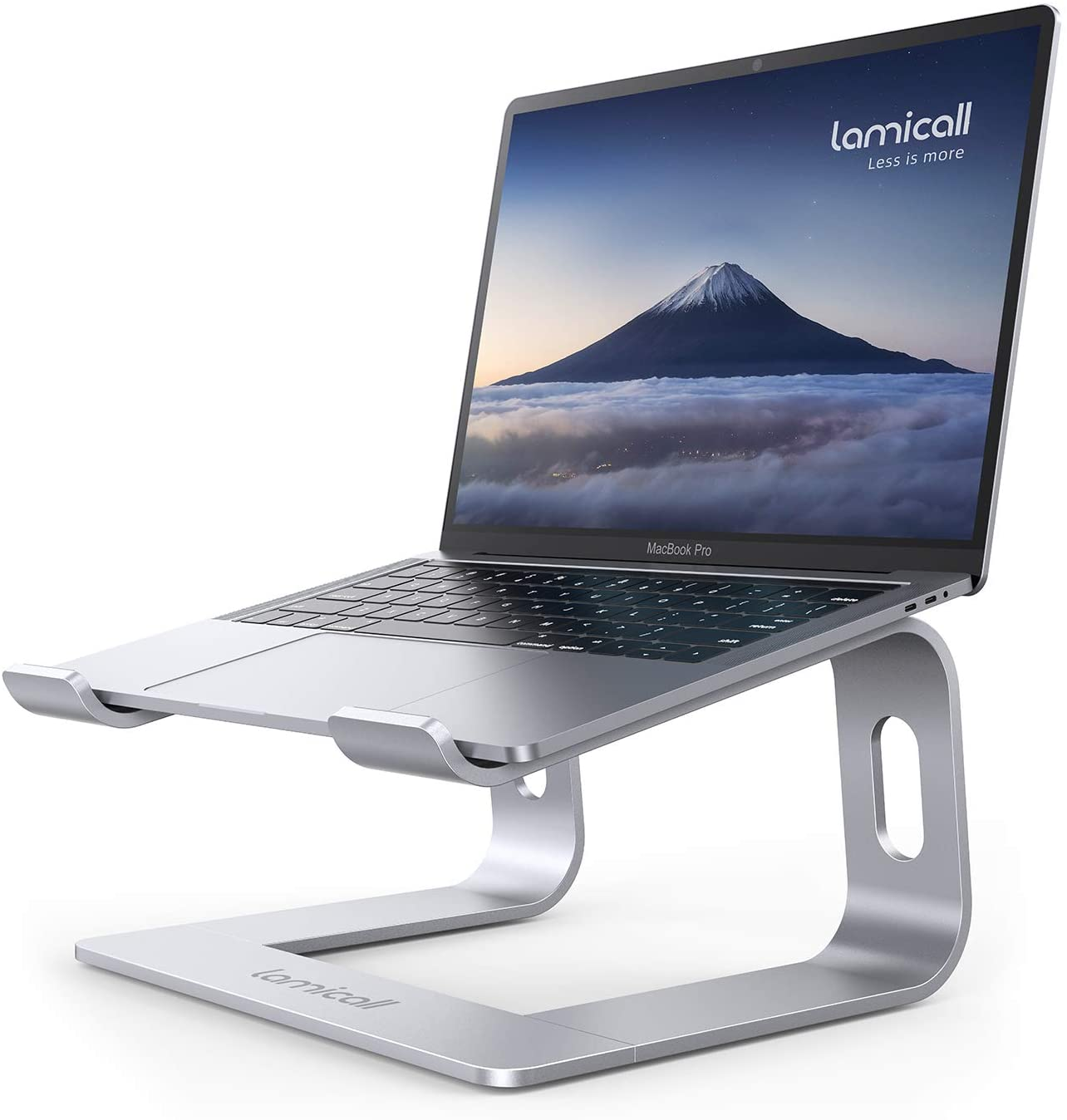 Laptop Stand, Lamicall Laptop Riser Holder : Ergonomic Detachable Aluminum Computer Notebook Stand Elevator for Desk, Compatible with Apple MacBook Air Pro, Dell XPS, HP, Lenovo (10-15.6'') - Silver