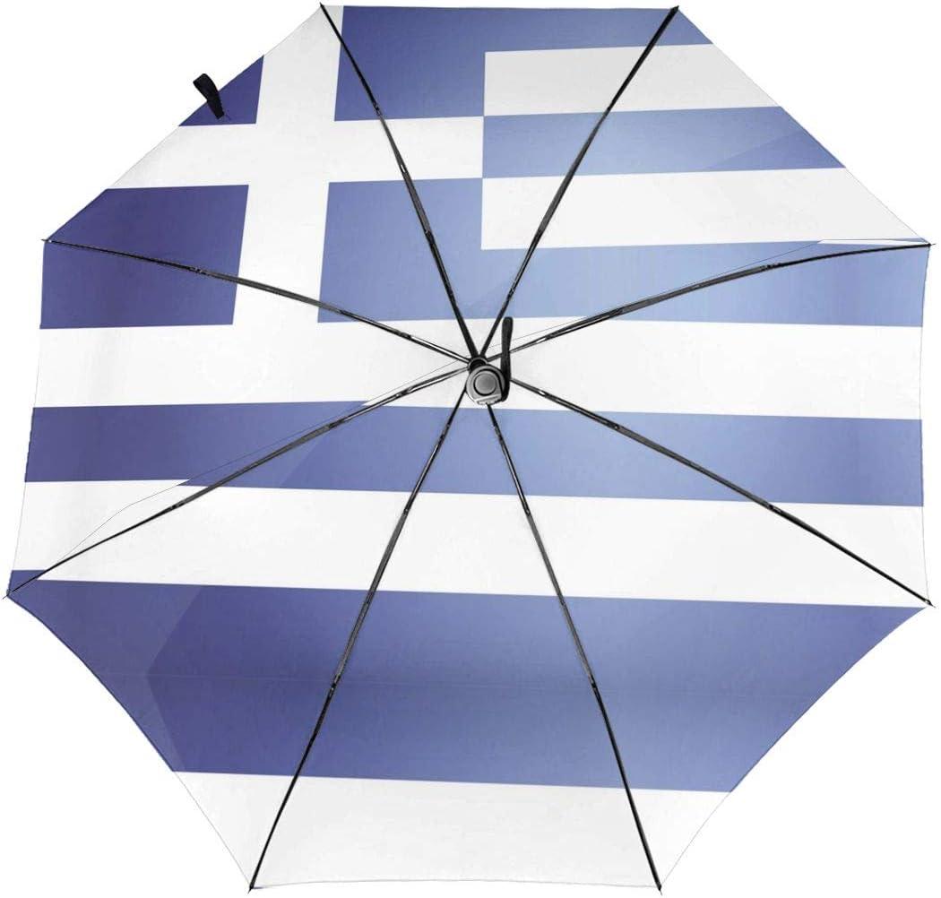 Greek Flag Automatic Folding Umbrella Sunshade Tri-fold Rain Umbrella