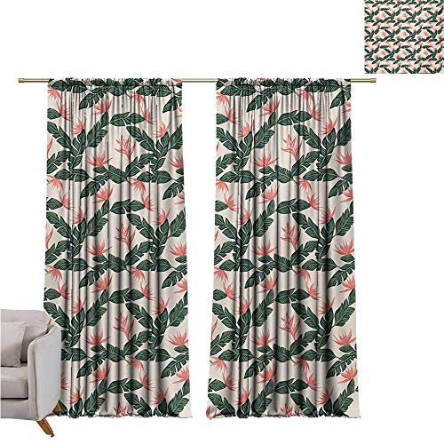 RenteriaDecor Jungle,Decor Blackout Window Curtain Panel Retro Style Island Nature Pattern with Leaves Bird of Paradise Flowers W108 x L108 2 Panels Set Bedroom Kitchen