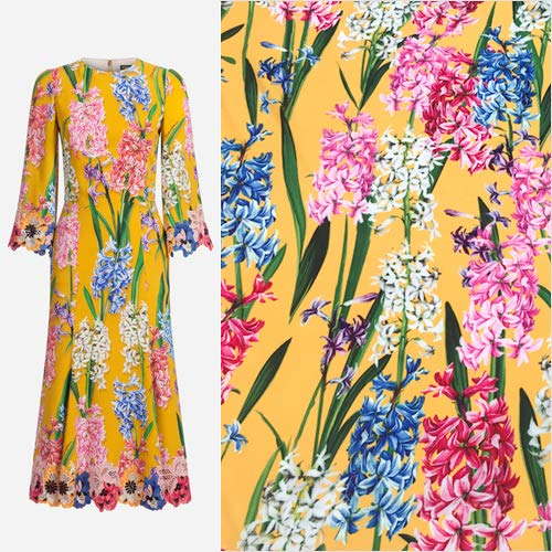 Pukido Floral Hyacinth Soft Polyester Cady Linen Fabric for Woman Spring Summer Autumn Cady Godet Dress Skirt Blouse Sewing DIY-AF745 (Godet Floral Skirt)