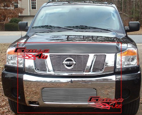 Ferreus Industries Polished Stainless Vertical Flame Grille Grill Insert Trim fits 2008-2014 Nissan Titan TRK-136-06