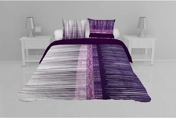 Soleil docre Graphique Juego de Funda de edredón, en algodón, Negro, 140 x 200 cm, algodón, Morado, 260 x 240 cm: Amazon.es: Hogar