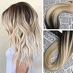 Moresoo 14inch Tape in Extensions Remy Human Hair Color #2 Brown Fading to Blonde #27 Mixed #613 Bleach Blonde Seamless Tape in Human Hair Extensions 20pcs 50g Per Pack