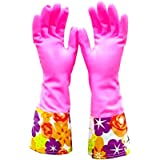 Cute Cleaning Gloves Kitchen Gloves VANORIG Thickening Waterproof Dish Washing Gloves Household Gloves with Lining ,1 Pair (Flowers-02)