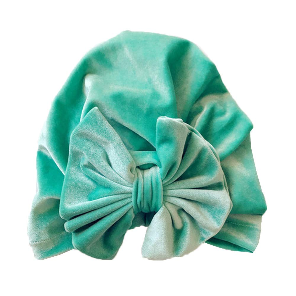 WARMSHOP Infant Baby Boys Girls Solid Color Nursery Newborn Hospital Hat Cap with Big Bow Super Soft Velvet Turban Beanie