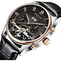 TIDOO Tourbillon Style Black Leather Date Automatic Mechanical Mens Watch