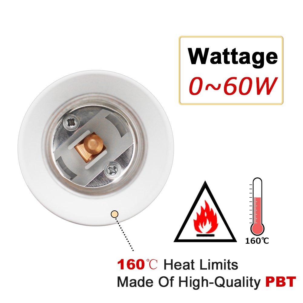 DiCUNO E26/E27 Socket Extender Adapter, E26/E27 to E26/E27 Adjustable Extension, Flexible Medium Light Bulb Socket Converter, 180 Degree Bendable (6-Pack) by DiCUNO (Image #4)