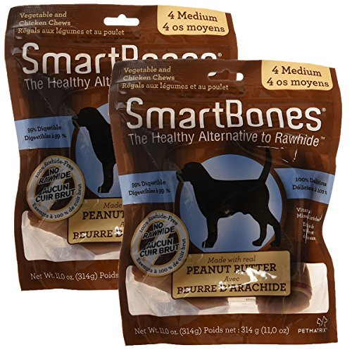 SmartBones Peanut Butter Dog Chew, Medium, 4 pieces (Pack of 2)