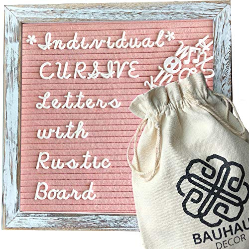 Cursive Style Letters - Blush Pink Felt Letter Board Set with 10x10 Rustic Farmhouse Wood Frame by Bauhaus Decor - Changeable Message Board with 395 White Letters, Numbers, and Emojis.