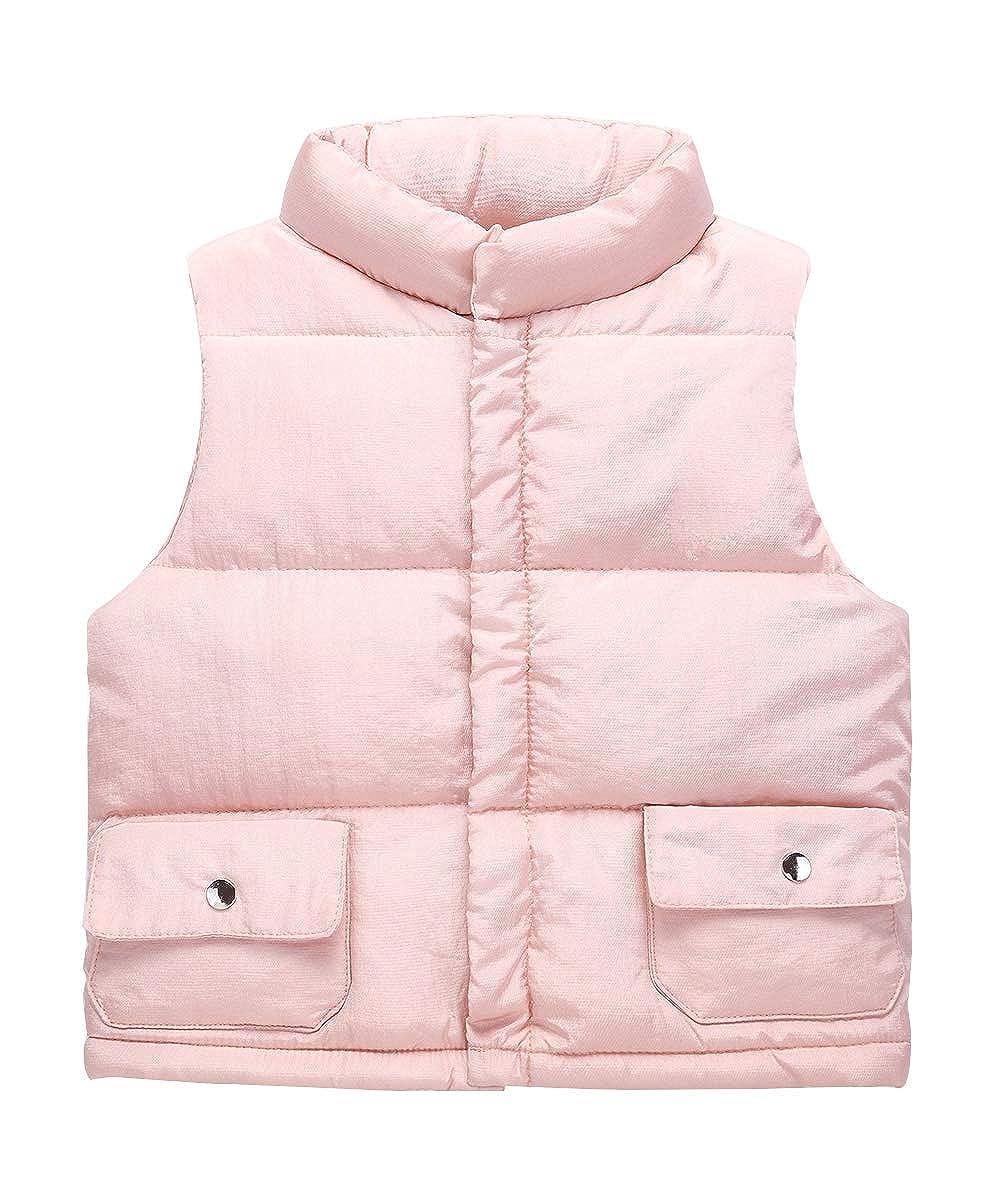 Happy Cherry Kids Girls Padded Vest Button Down Pockets Winter Warm Sleeveless Jakcet