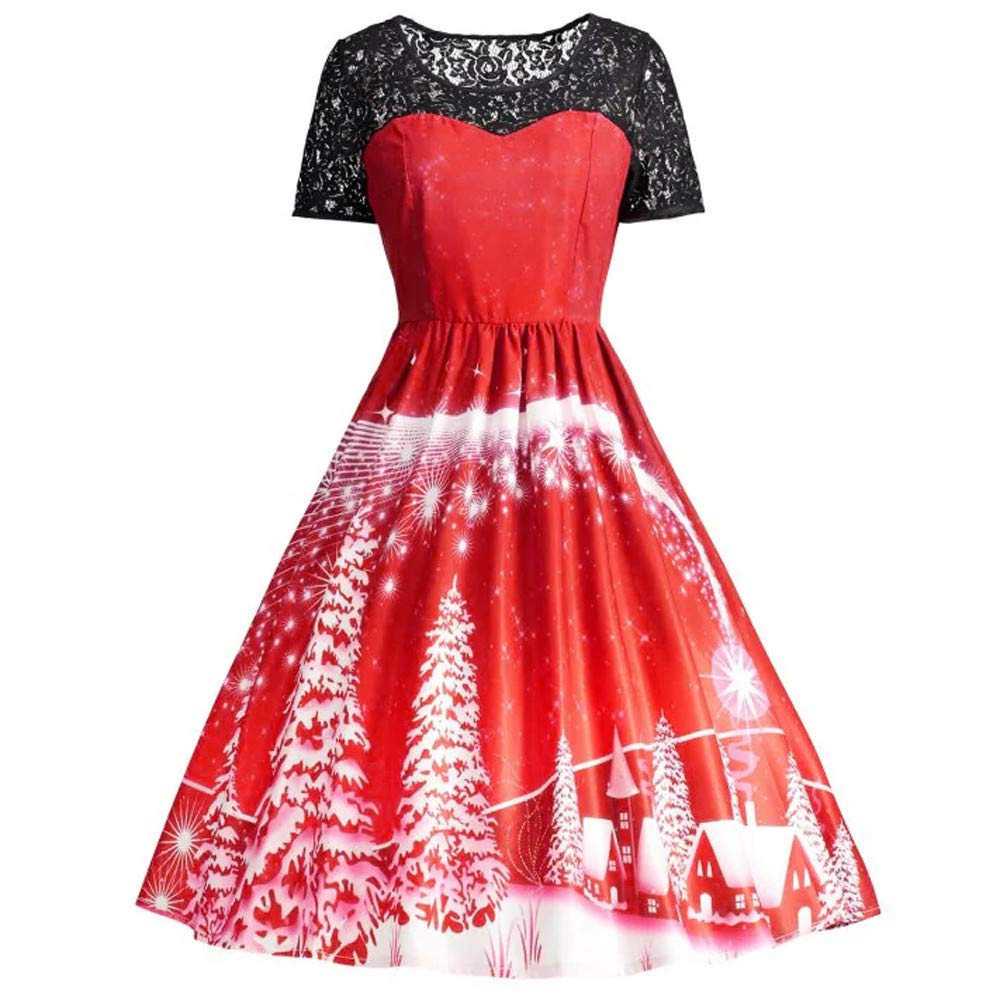 POIUDE Clearance Christmas Women Dress Short Sleeve Lace Patchwork Printing Vintage Gown Dress POIUDE-baby clothes