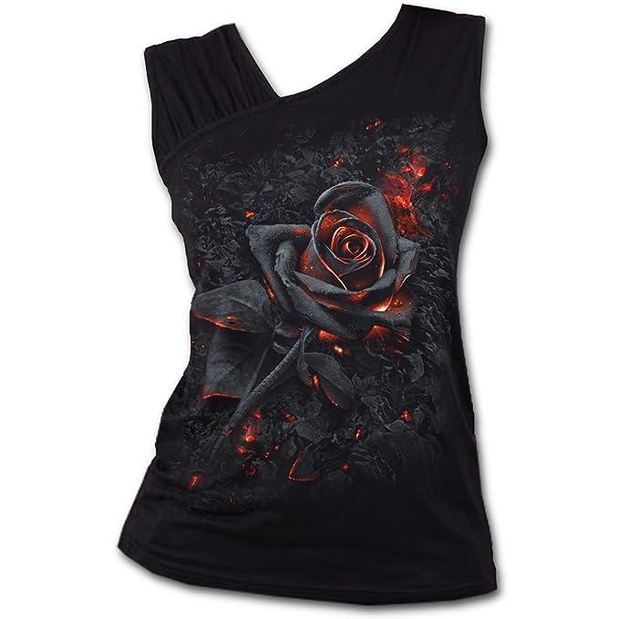 Spiral Burnt Rose Top Mujer Negro hzyyV