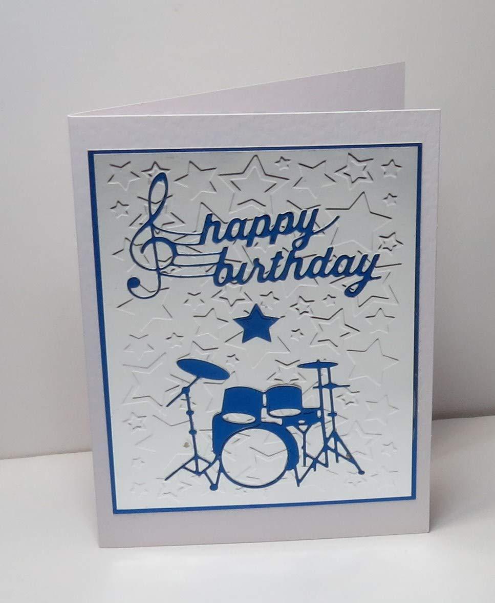 5 x 7 inches Handmade Shiny Metallic Silver /& Holographic Royal Blue Drum Kit Birthday Blank Greeting Card with Shiny Metallic Silver Embossed Star Background