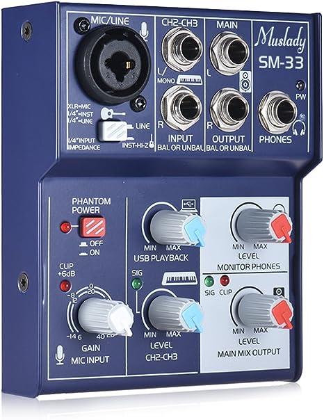 Muslady Mezcla de tarjeta de sonido Mini 3 canales Consola de ...