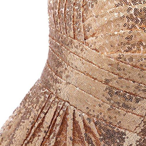 Da Abito Sera LaoZan Donna V Spalline Senza Matrimonio Paillettes Di Da oro Festa Vestiti Vestito Scollo Lunghe 0ff7WwCSPA