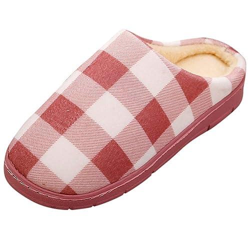 ZODOF Zapatos de Dormitorio Antideslizantes de Invierno para el hogar de Estar Cerradas Calienta Interior Casa Caliente Slippers Suave Algodón Pareja ...