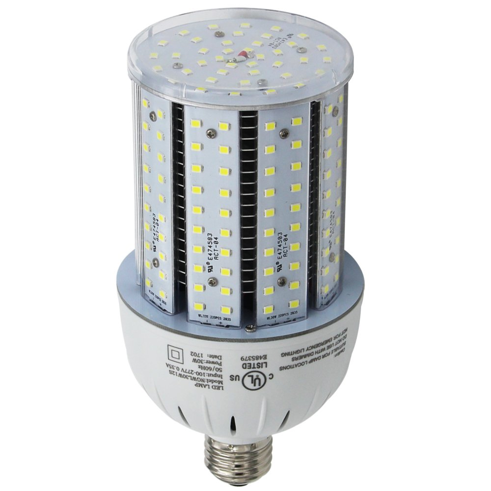 400W High Pressure Sodium Replacement LED Corn Light Bulbs 120 Watt Dustproof Parking Lot Fixture Retrofit Bulb E39 Mogul Base 5000K Pure White for ...
