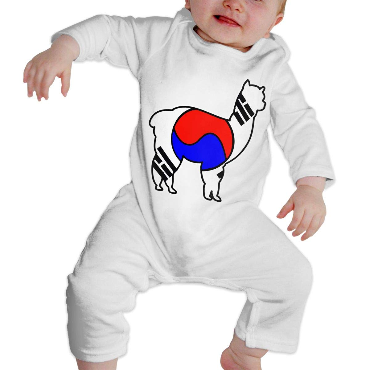 A1BY-5US Baby Infant Toddler Cotton Long Sleeve Korean Alpaca Romper Bodysuit Funny Printed Romper Clothes