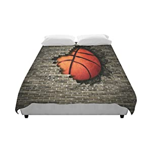 """Love Nature Custom Bedding Basketball Embedded In A Brick Wall Fashion Duvet Cover 86"""" X 70""""(One Side Printed) Queen Duvet Cover, King Duvet Cover, Full Duvet Cover"""