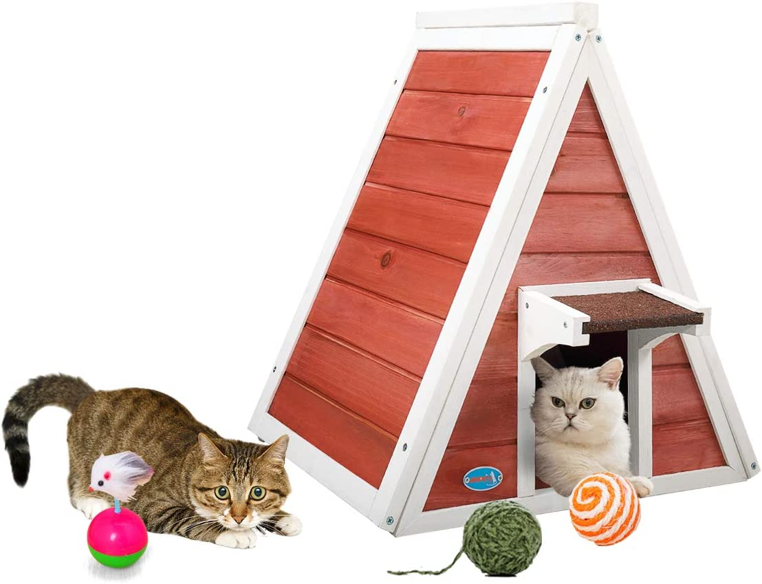 COZIWOW Compact Sturdy Triangle Wood Cat Pet House Cat Condo with Double Entrances, Outdoor and Indoor for Small Medium Cat,Grey,Red White, 21.26 H