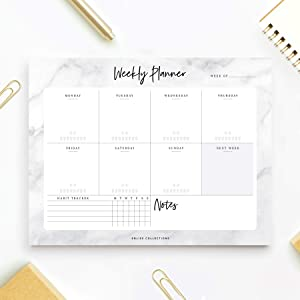 Bliss Collections Weekly Planner with 50 Undated Tear-Off Sheets, 8.5 x 11 Marbled Design Calendar, Organizer, Tracker, Scheduler for Organizing Tasks, Goals, Ideas, Notes, Productivity, To Do Lists