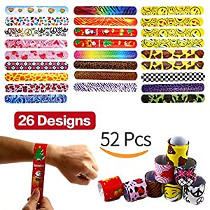 - 61V j8oWzaL - Yeonha Toys Bracelets Party,52 Pack Slap Bracelets (26 Design), Slap Bands with Colorful Hearts,Peace,Animal Prints Toys Party Favors Birthday School Classroom Prize for Kids Boys Girls Adults