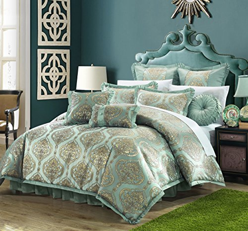 - Perfect Home 9 Piece Bonito Decorator Upholstery Quality Jacquard Motif Fabric Complete Master Bedroom Comforter Set and pillows Ensemble. King Blue
