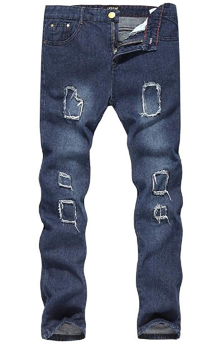SHOWNO Mens Stretchy Straight Leg Hole Washed Biker Classic Jeans Pants