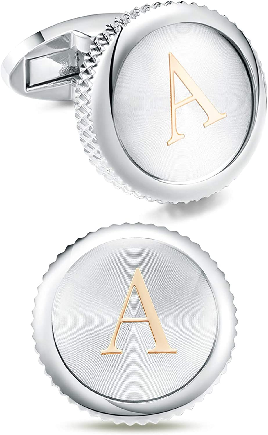 Cat Eye Jewels Gold Tone Classic Alphabet Initial A M Round Silver Mens Cufflinks for Men Groom Tuxedo Formal Shirts Business Wedding Birthday Gifts Box