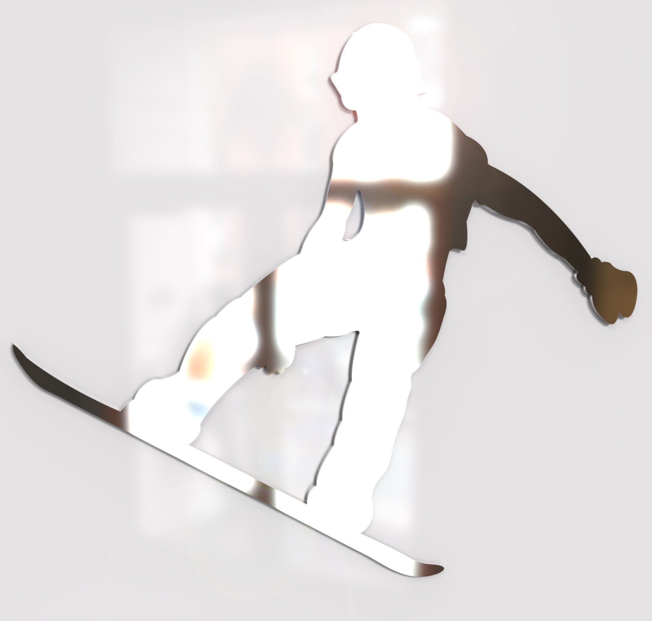 Snowboarder Snowboarding Mirror - Available in various sizes, including sets for crafting kits - Set of 10 (5cm each)