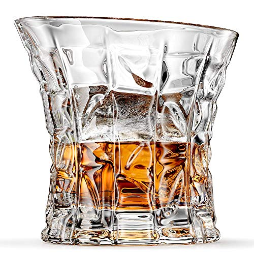Ashcroft Empire Old Fashioned Whiskey Glass, Unique Lead Free Crystal Rocks Scotch Glasses Set of 2 With Gift Box