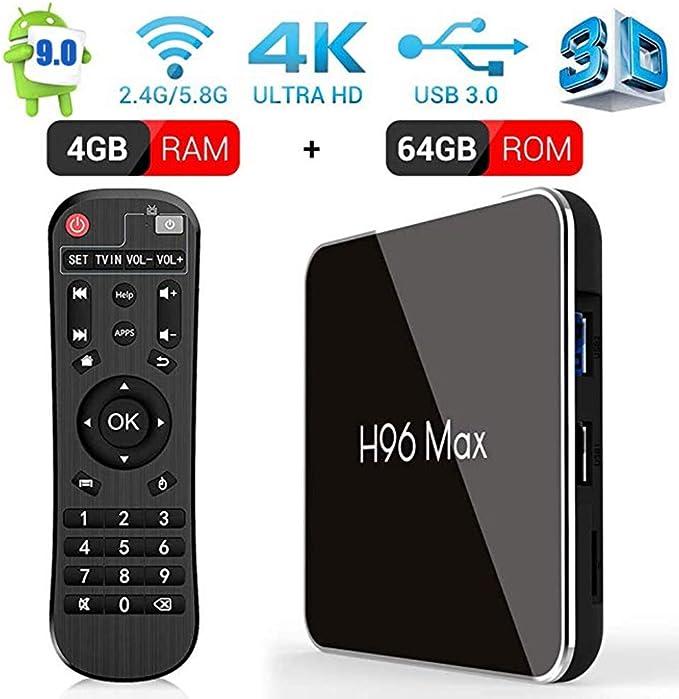 Android 9.0 TV Box 2019 Newest H96 MAX X2 4GB RAM+64GB ROM TV Box with Amlogic S905X2 Quad-Core, Support 2.4G/5.8G Dual WiFi BT4.0 HDMI 2.1 USB3.0 4K Full HD Smart Internet Video
