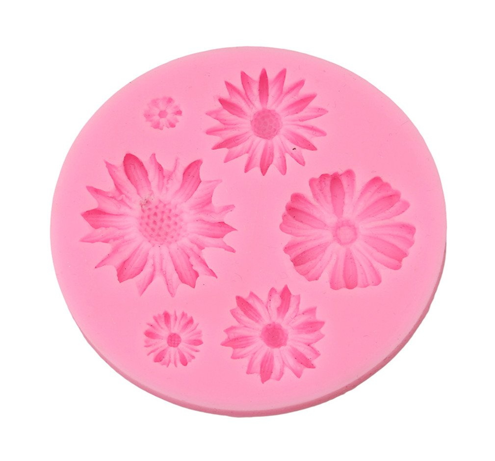 LALANG Flower Shaped Chocolate Candy Jello 3D Silicone Mold Soap Mold Cartoon Cake Tools
