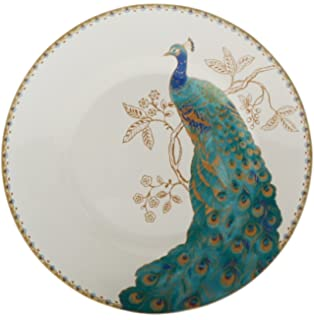 Delightful 222 Fifth Peacock Garden Salad Plate, White, Set Of 4